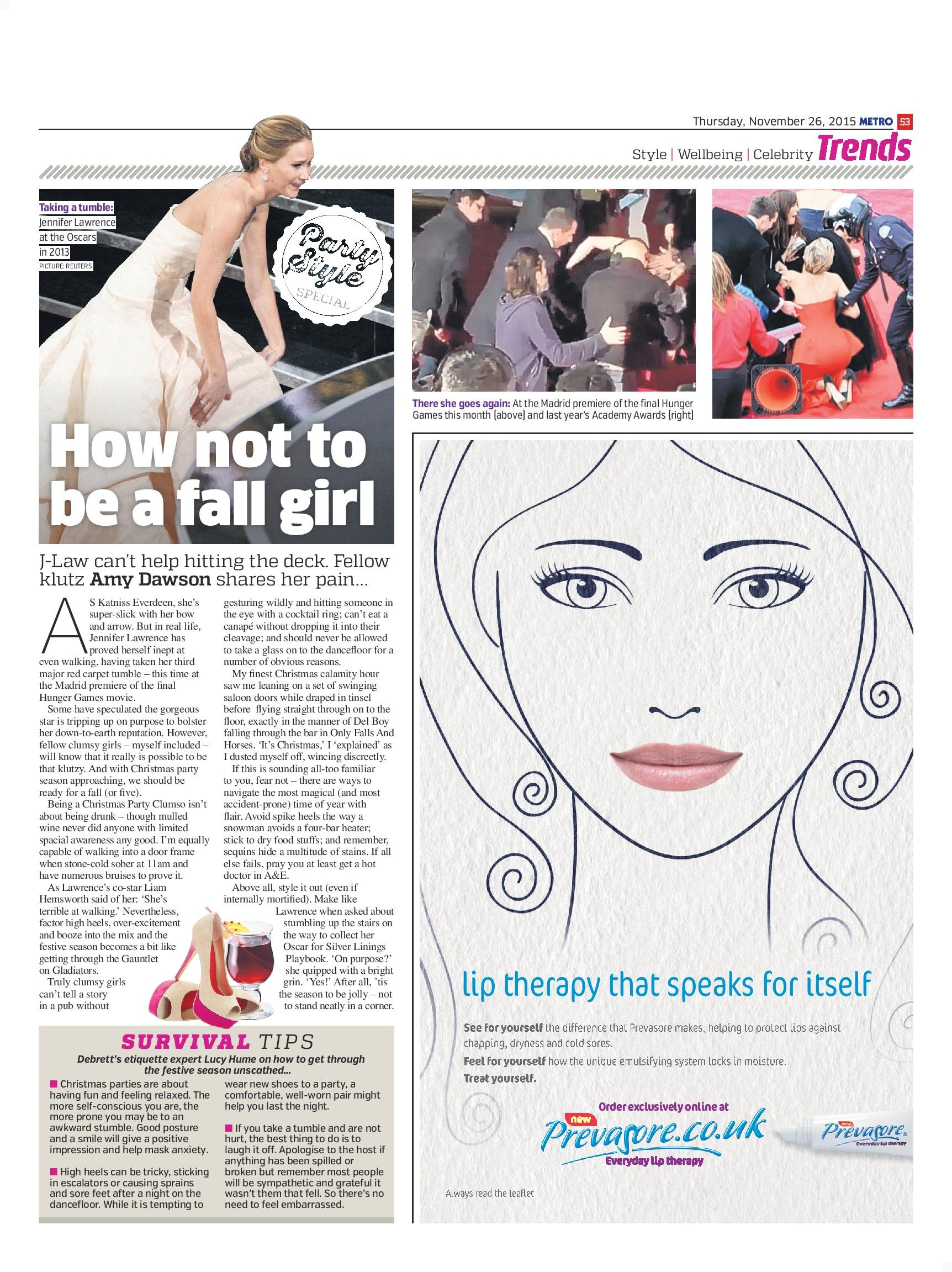 How Not To Be A Fall Girl (Metro, 26th Nov 2015)