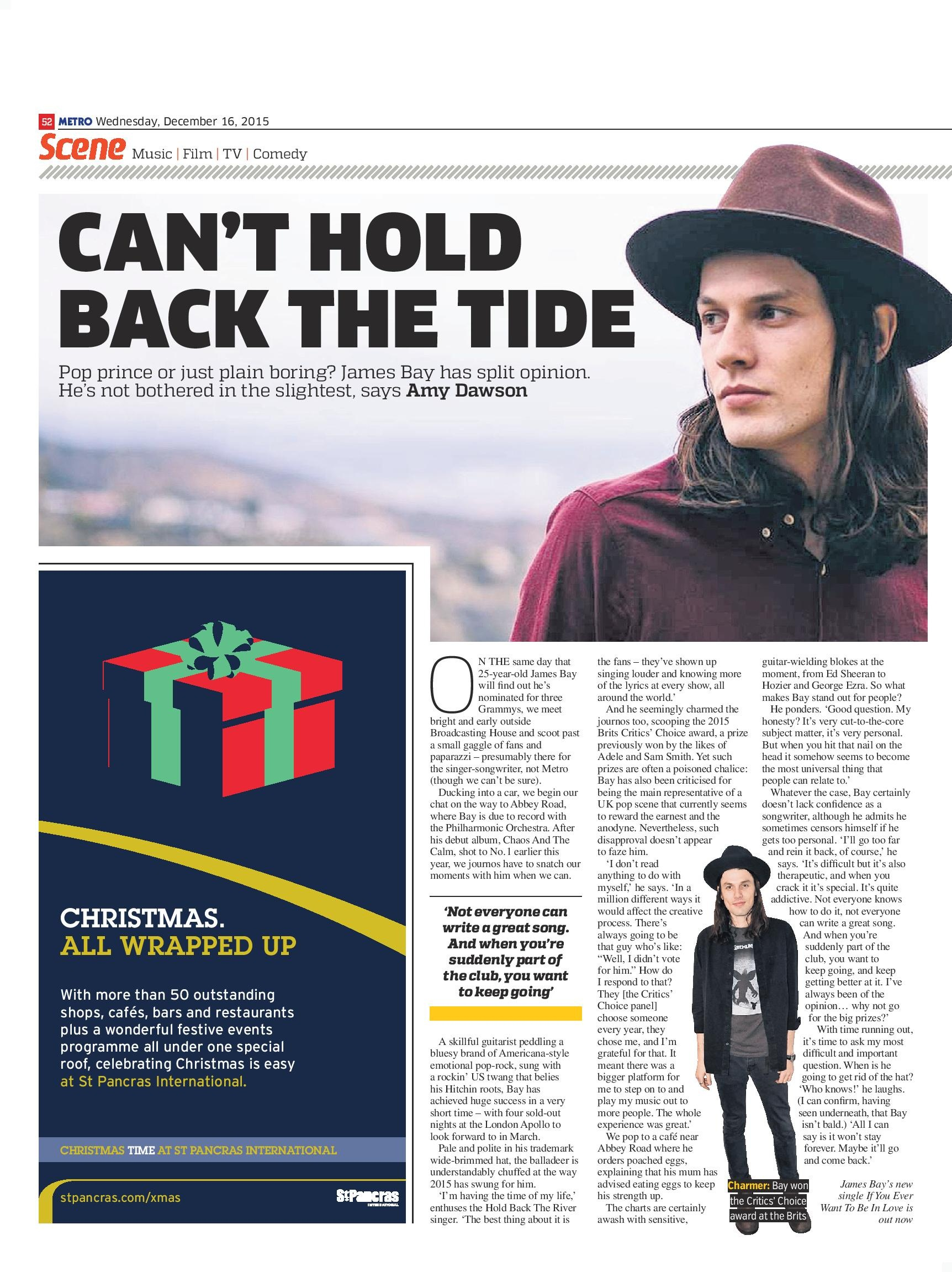 Can't Hold Back The Tide: An interview with James Bay (Metro, 16th Dec 2015)
