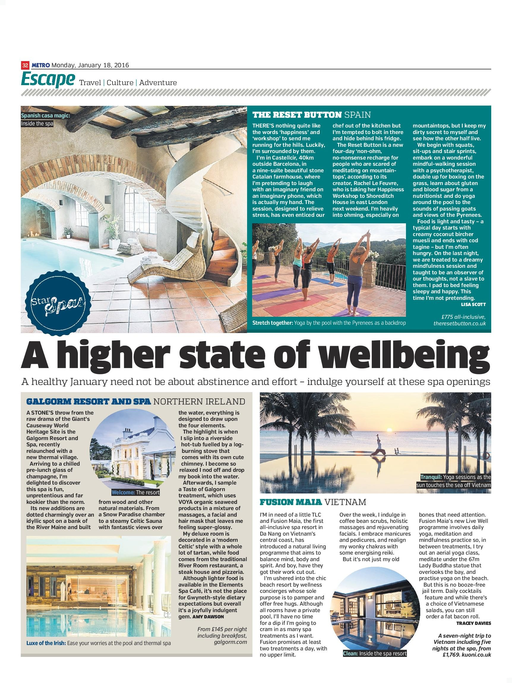 A Higher State of Wellbeing: Galgorm Resort and Spa, Northern Ireland (Metro, 18th Jan 2016)