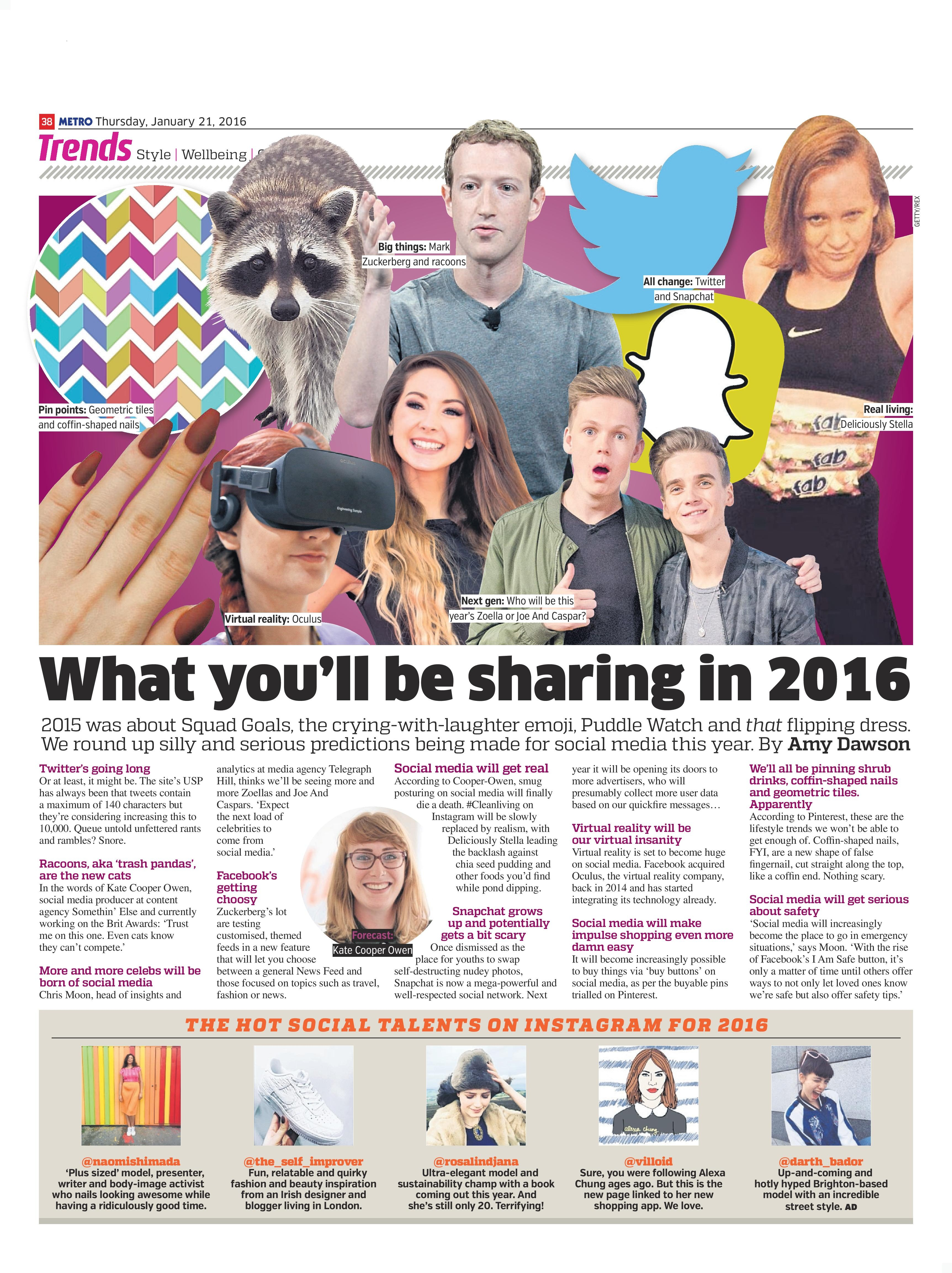 What you'll be sharing in 2016 (Metro, 21st Jan 2016)