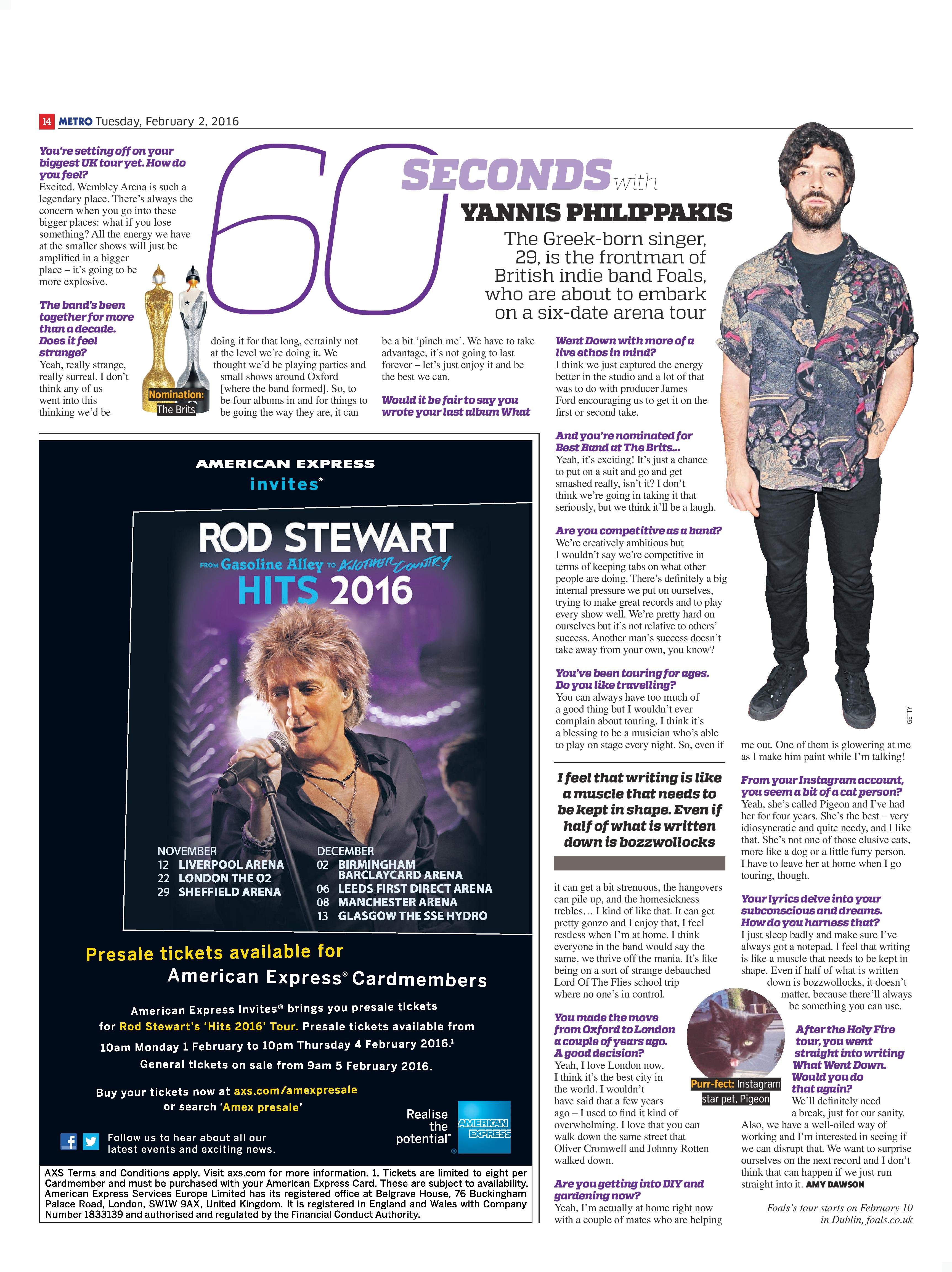 60 Seconds with…Yannis Philippakis from Foals (Metro, 2nd Feb 2016)