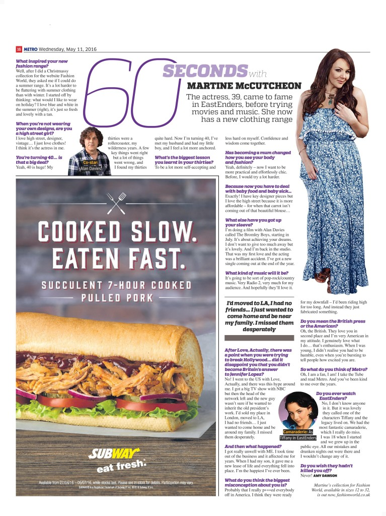 0f0a3a448e70 60 Seconds With…Martine McCutcheon (Metro
