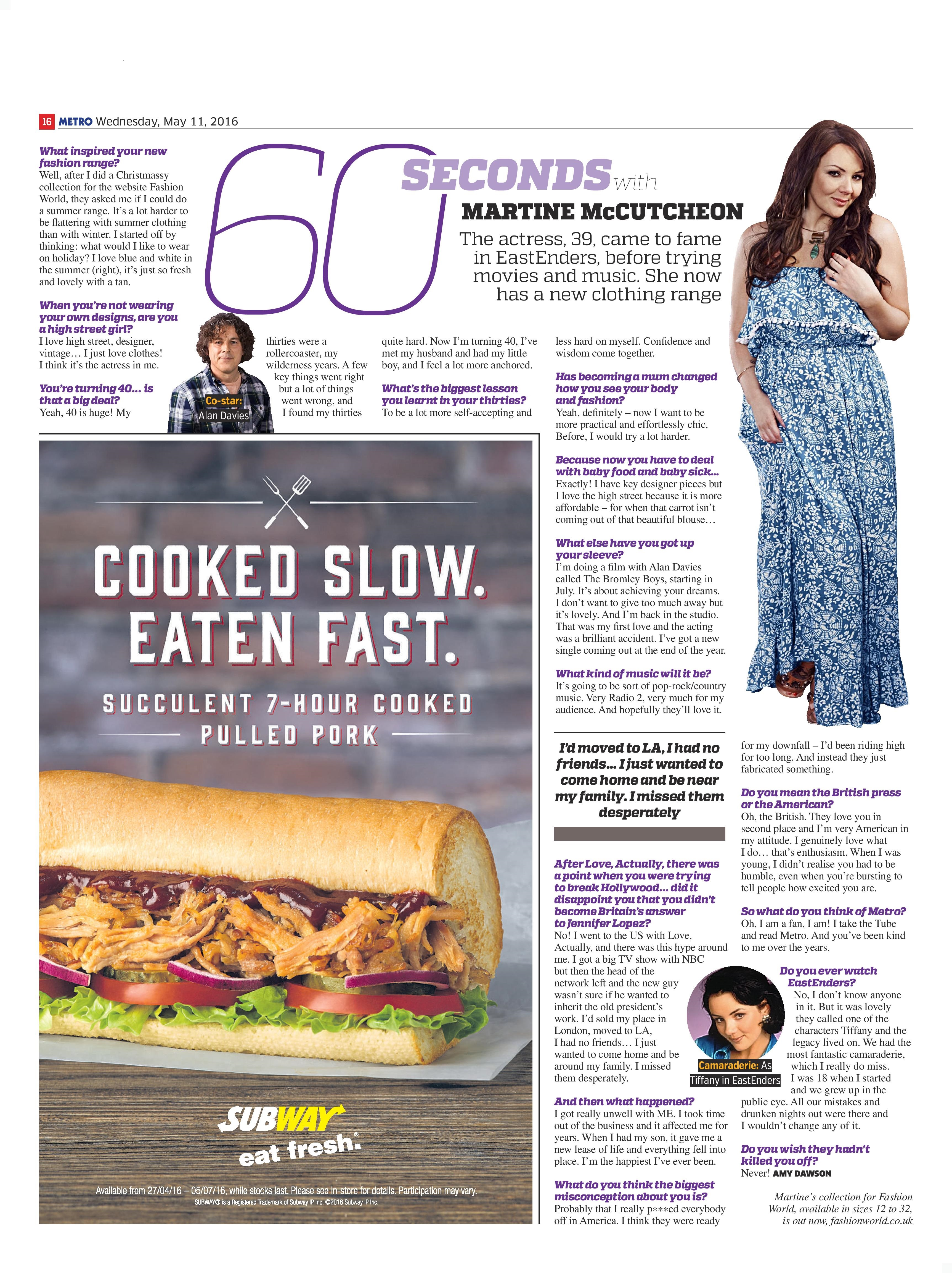 60 Seconds With…Martine McCutcheon (Metro, 11th May 2016)