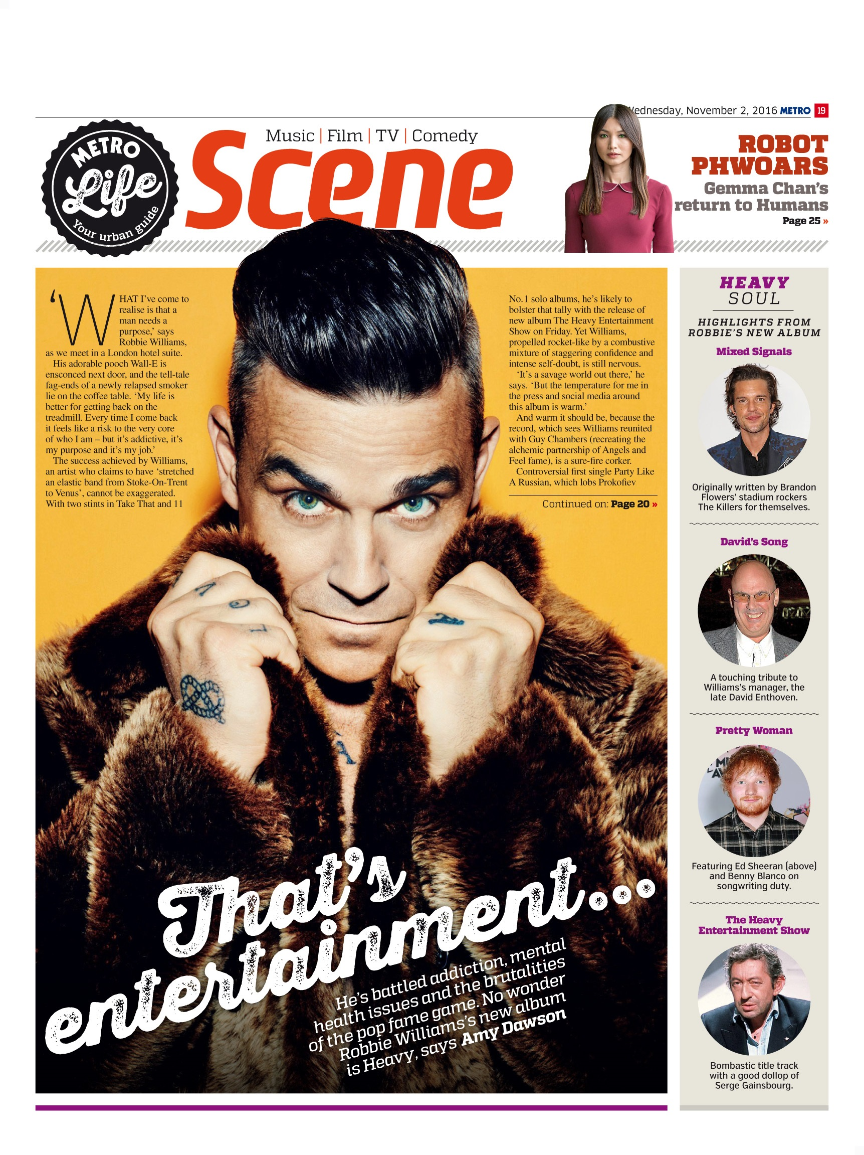 That's Entertainment: An Interview with Robbie Williams (Metro, 2nd Nov 2016)
