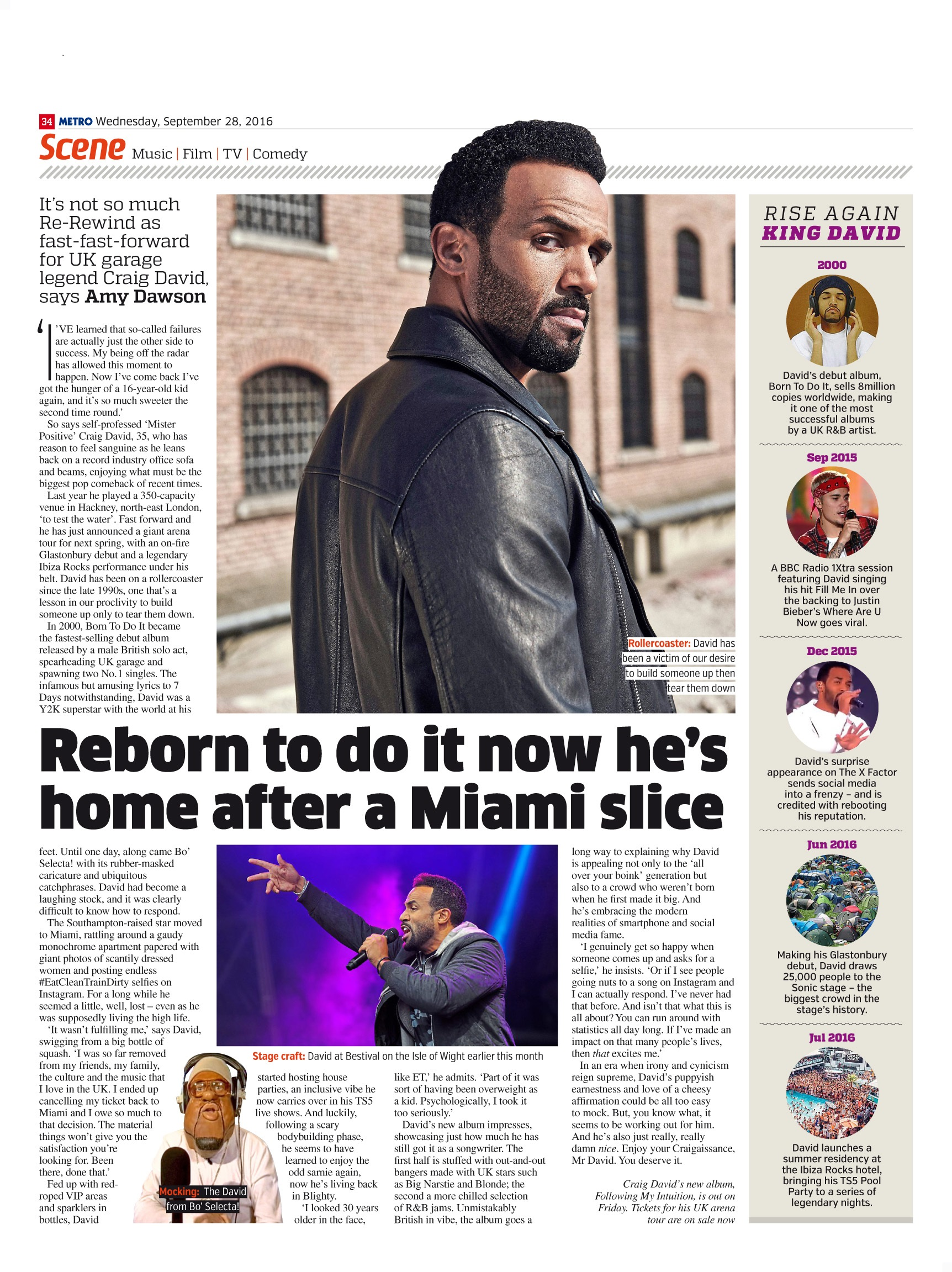 Reborn To Do It: An Interview with Craig David (Metro, 28th Sep 2016)