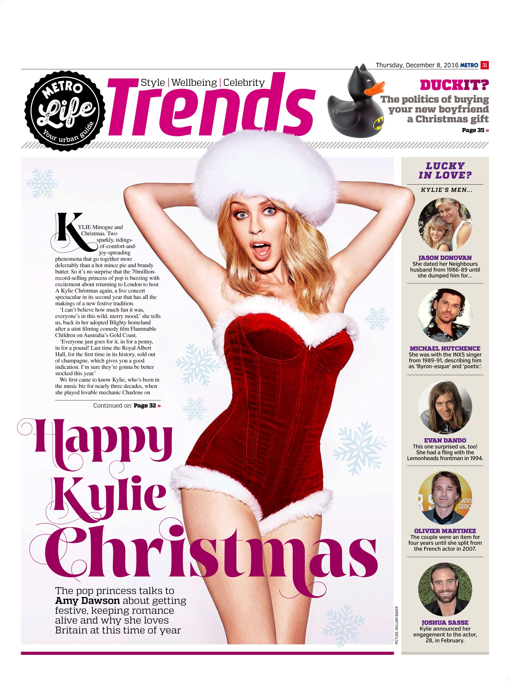 Especially For Yule: A Christmas Interview with Kylie Minogue (Metro, 8th Dec 2016)
