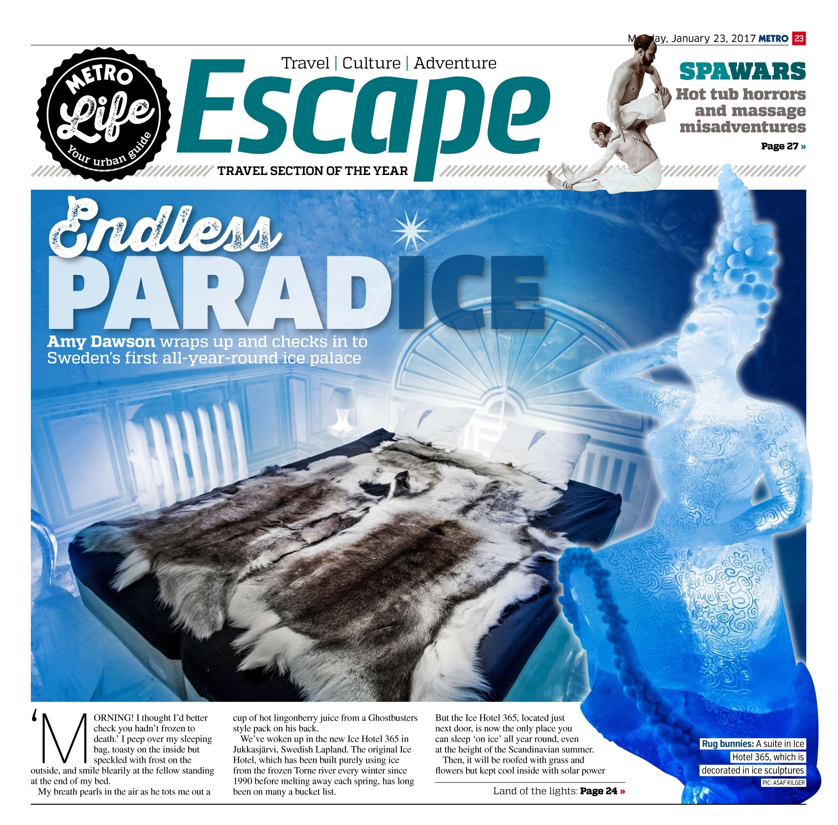 Endlesss ParadICE: Inside the world's first all-year round ice palace (Metro, 23rd Jan 2017)