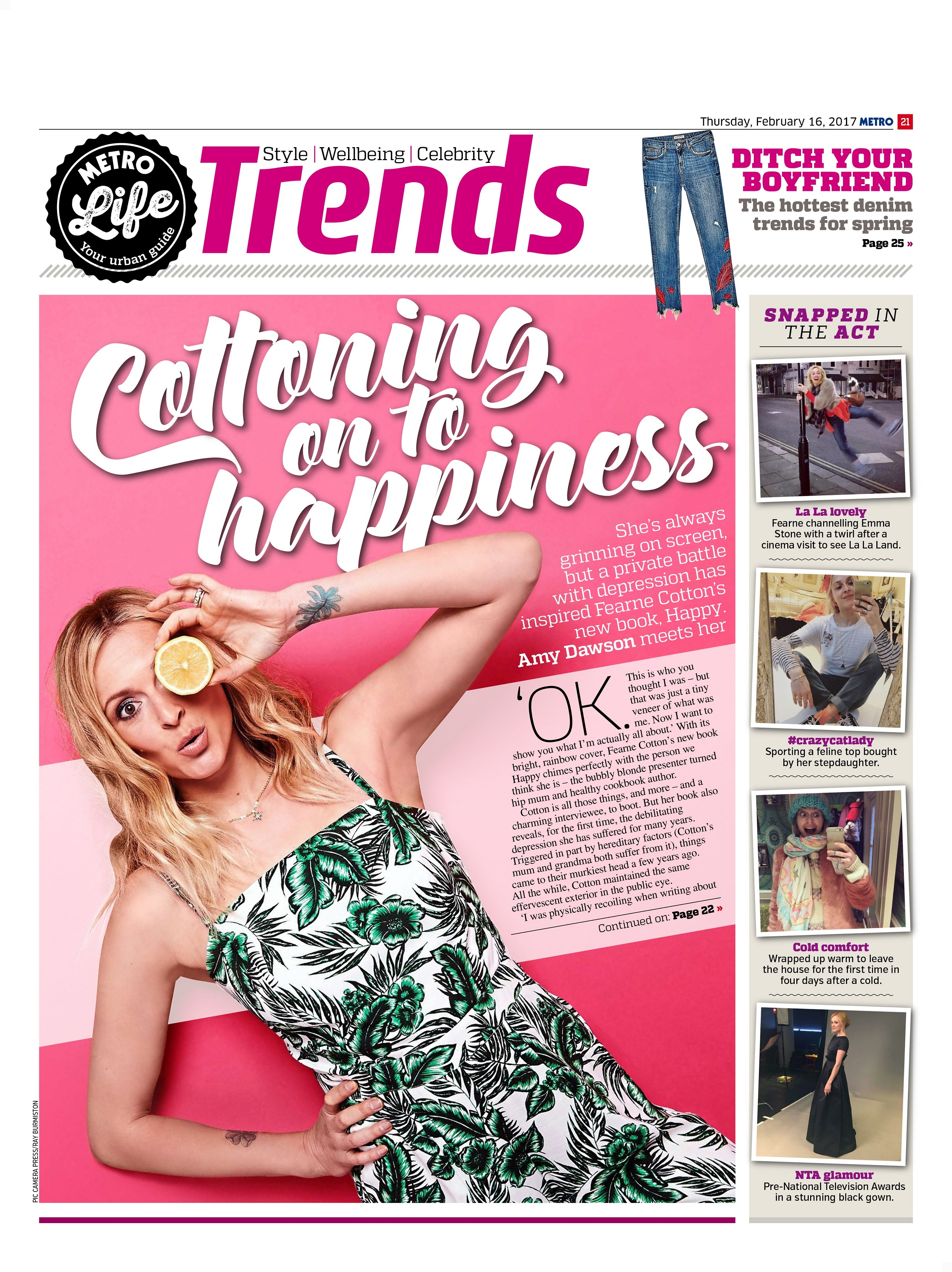Cottoning On To Happiness: An Interview with Fearne Cotton (Metro, 16th Feb 2017)