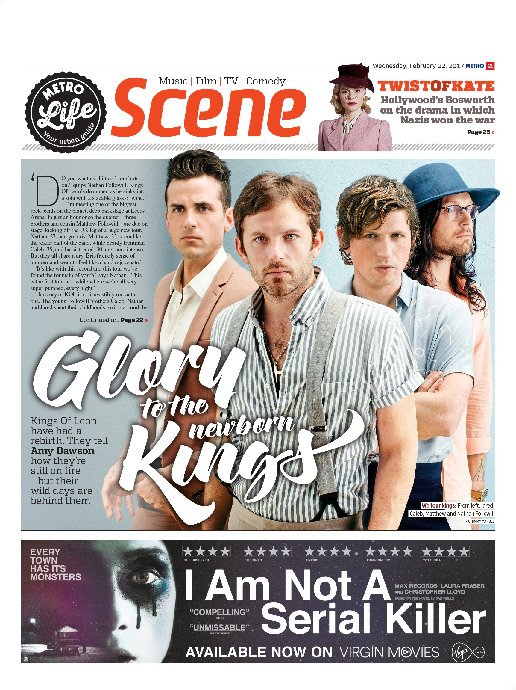 Glory To The New-Born Kings: An Interview With Kings of Leon (Metro, 22nd Feb 2017)