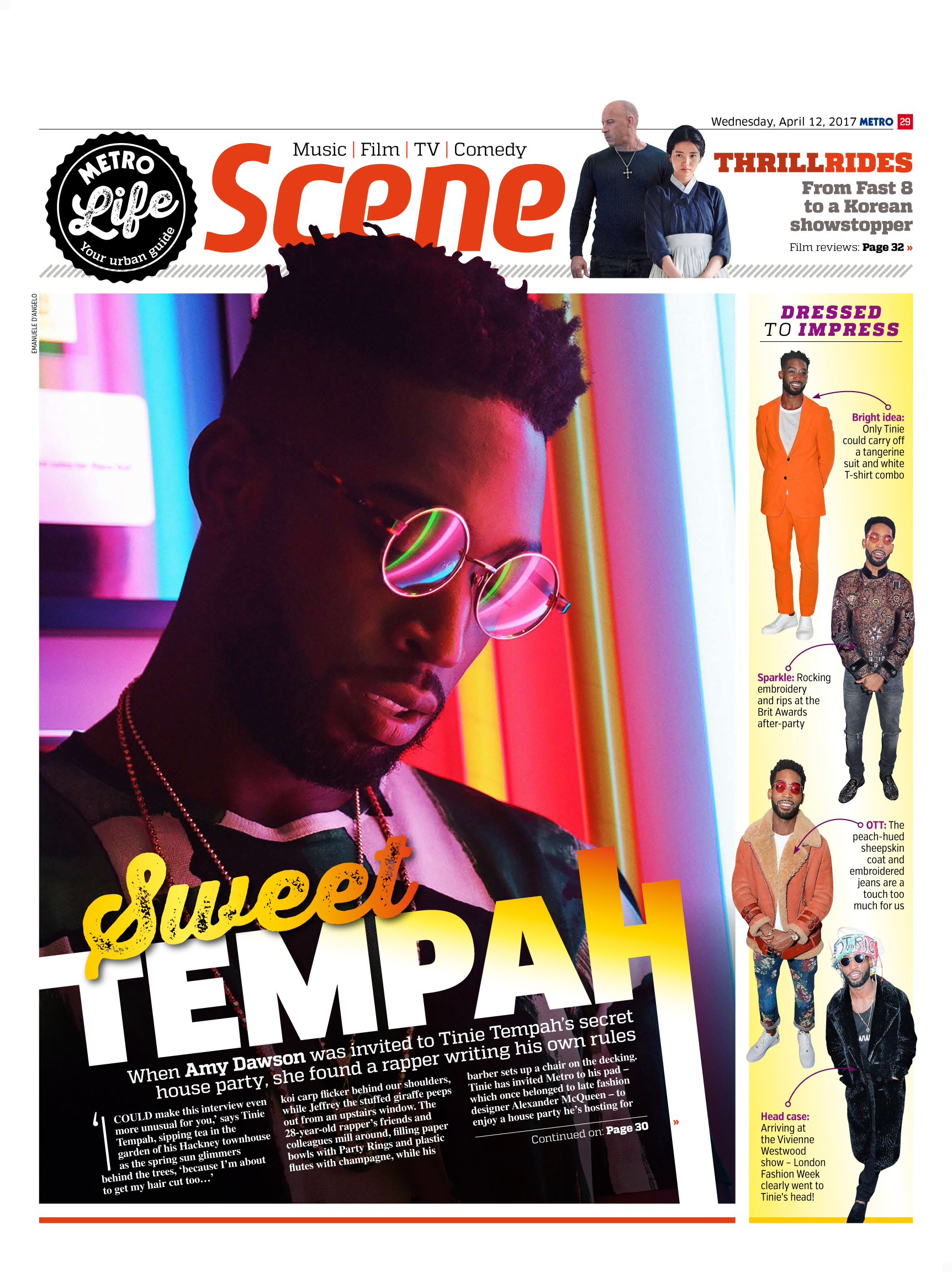 Sweet Tempah: An Interview With Tinie Tempah (Metro, 12th Apr 2017)
