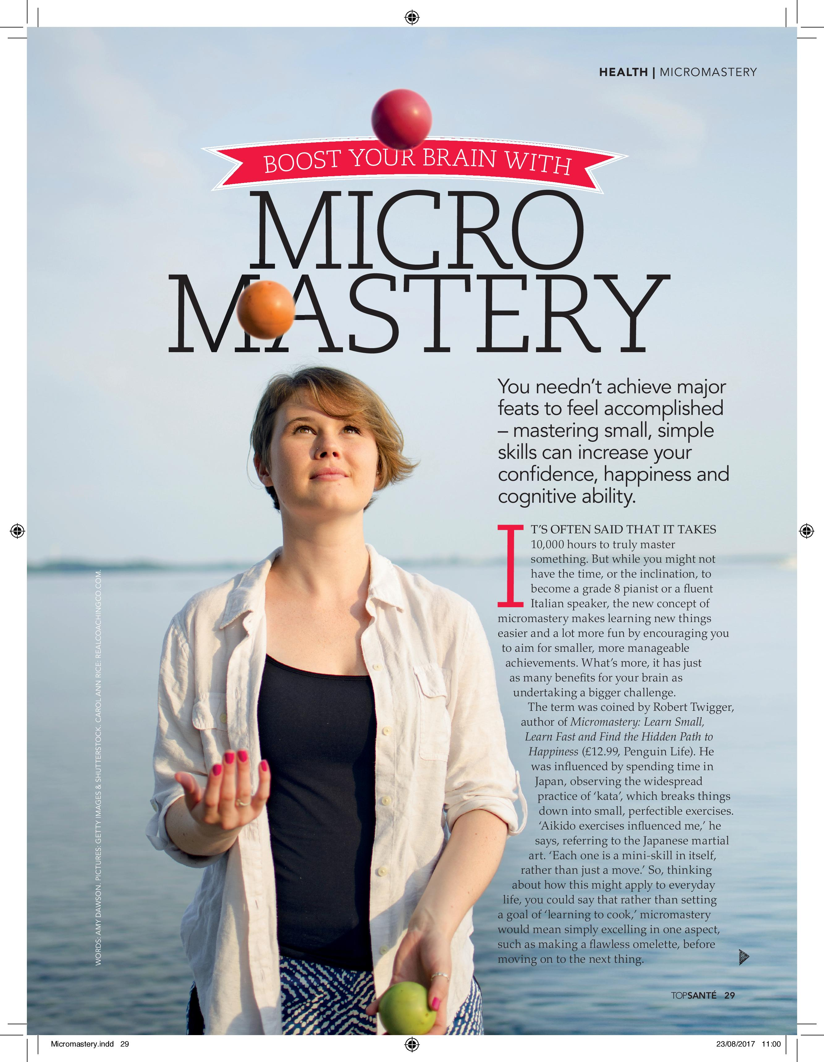 Boost Your Brain with Micromastery (Top Sante, Sep 2017)