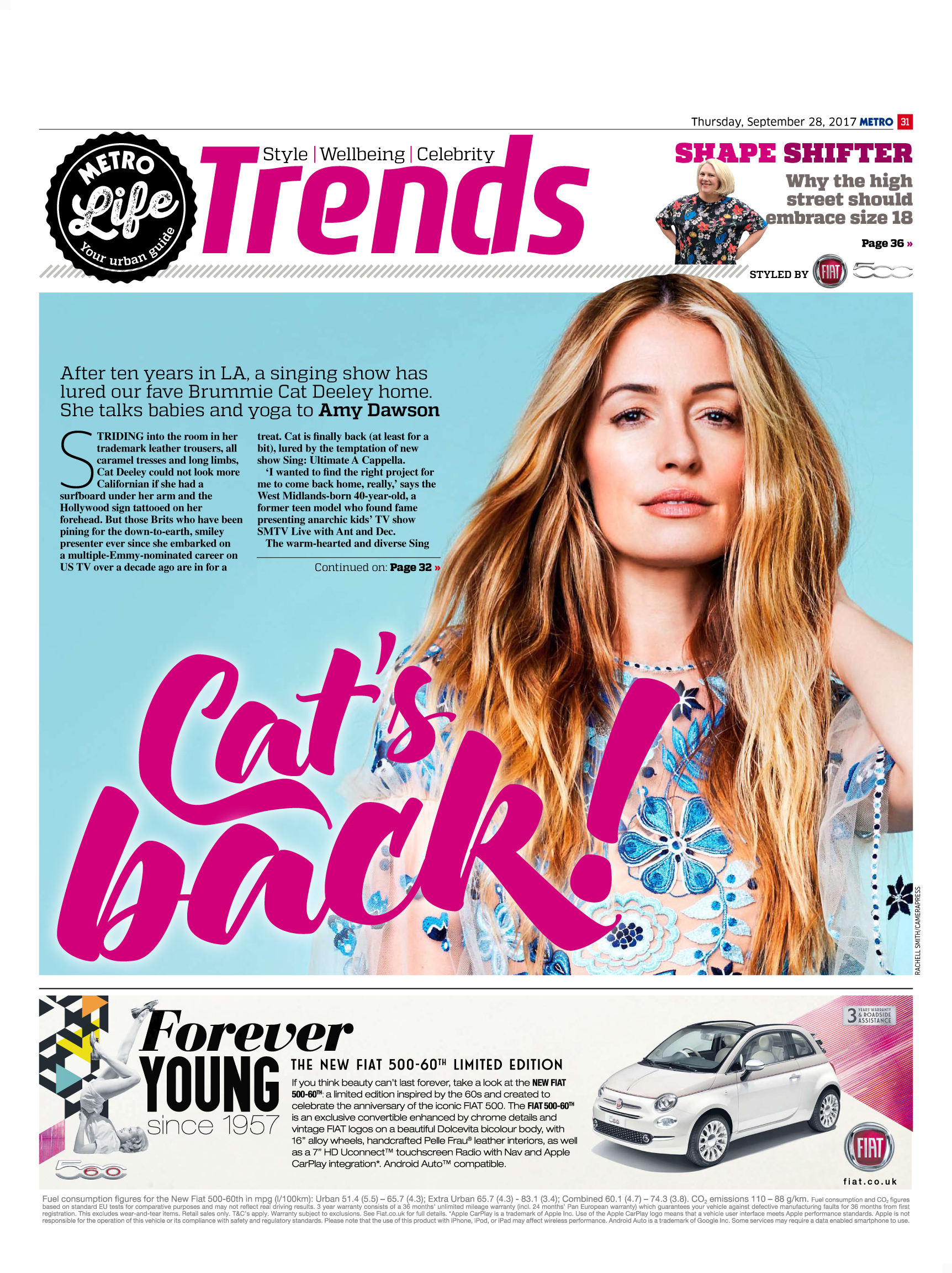 Cat's Back: An interview with Cat Deeley (Metro, 28th Sep 2017)