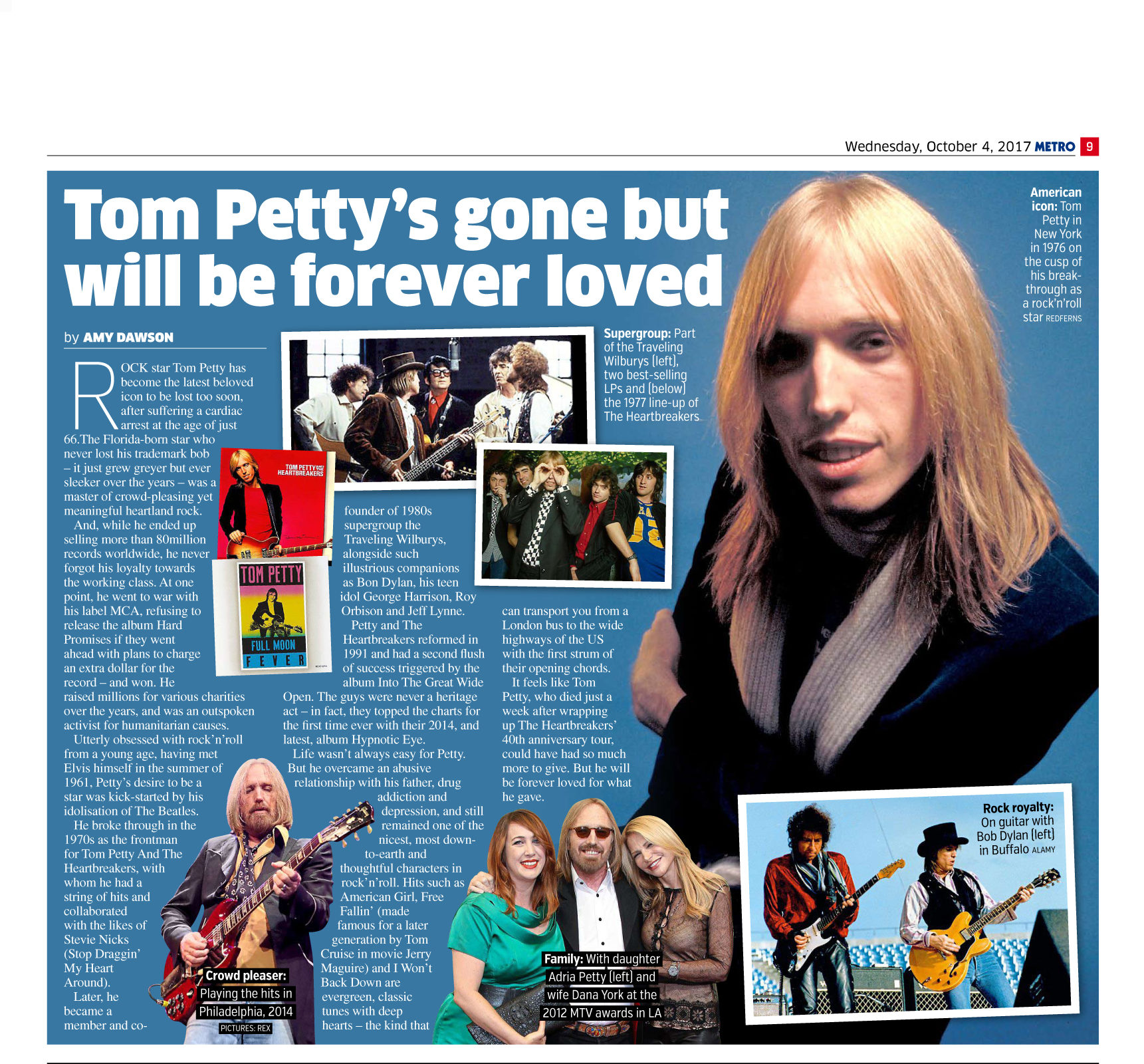 Tom Petty's Gone But Will Be Forever Loved (Metro, 4th Oct 2017)