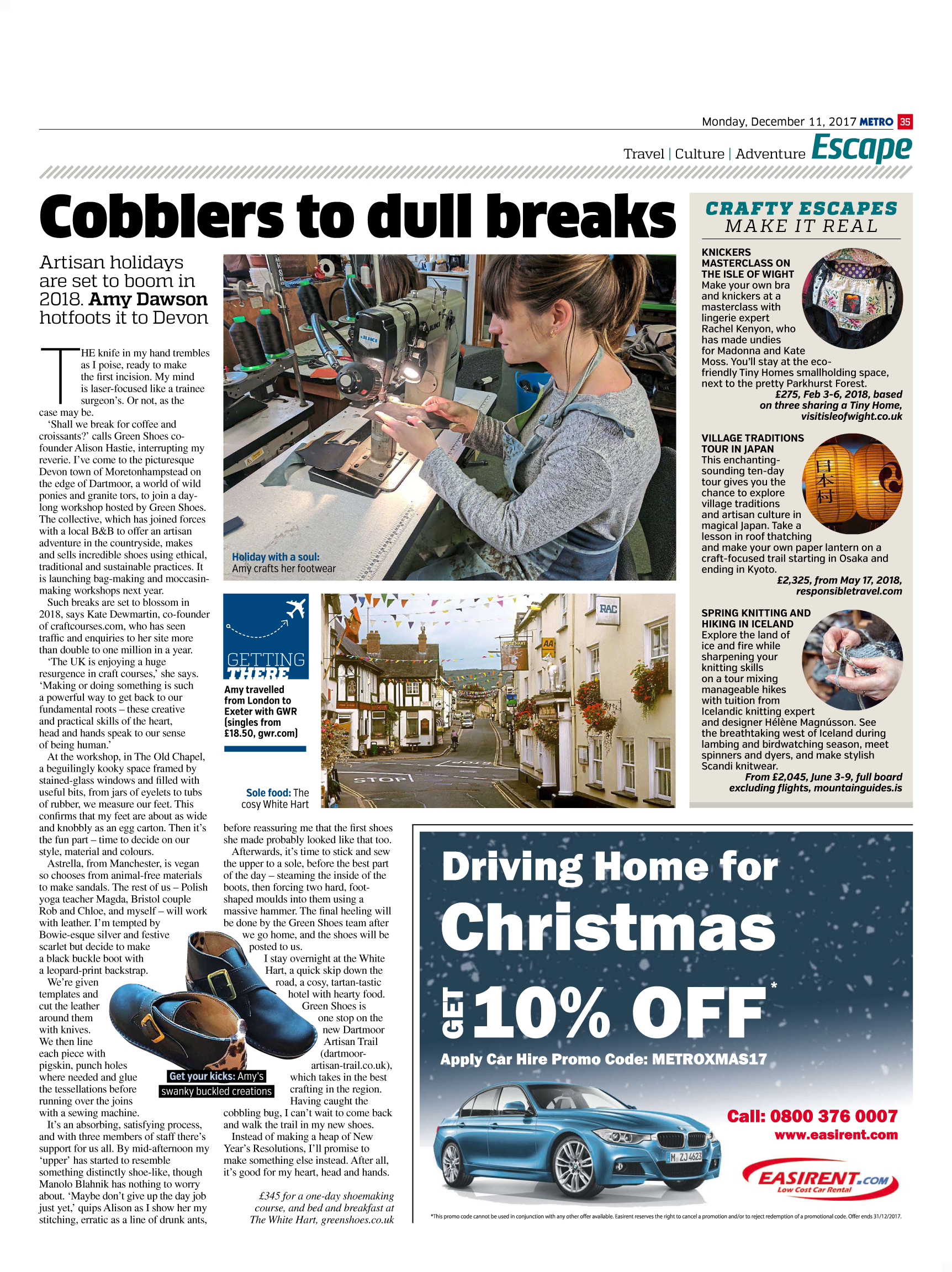 Cobblers To Dull Breaks (Metro, 11th Dec 2017)