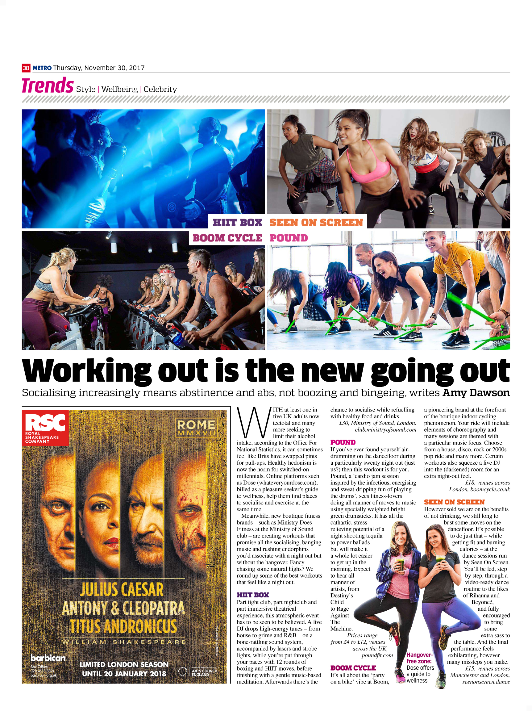 Workouts that feel like Nights Out (Metro, 30th Nov 2017)