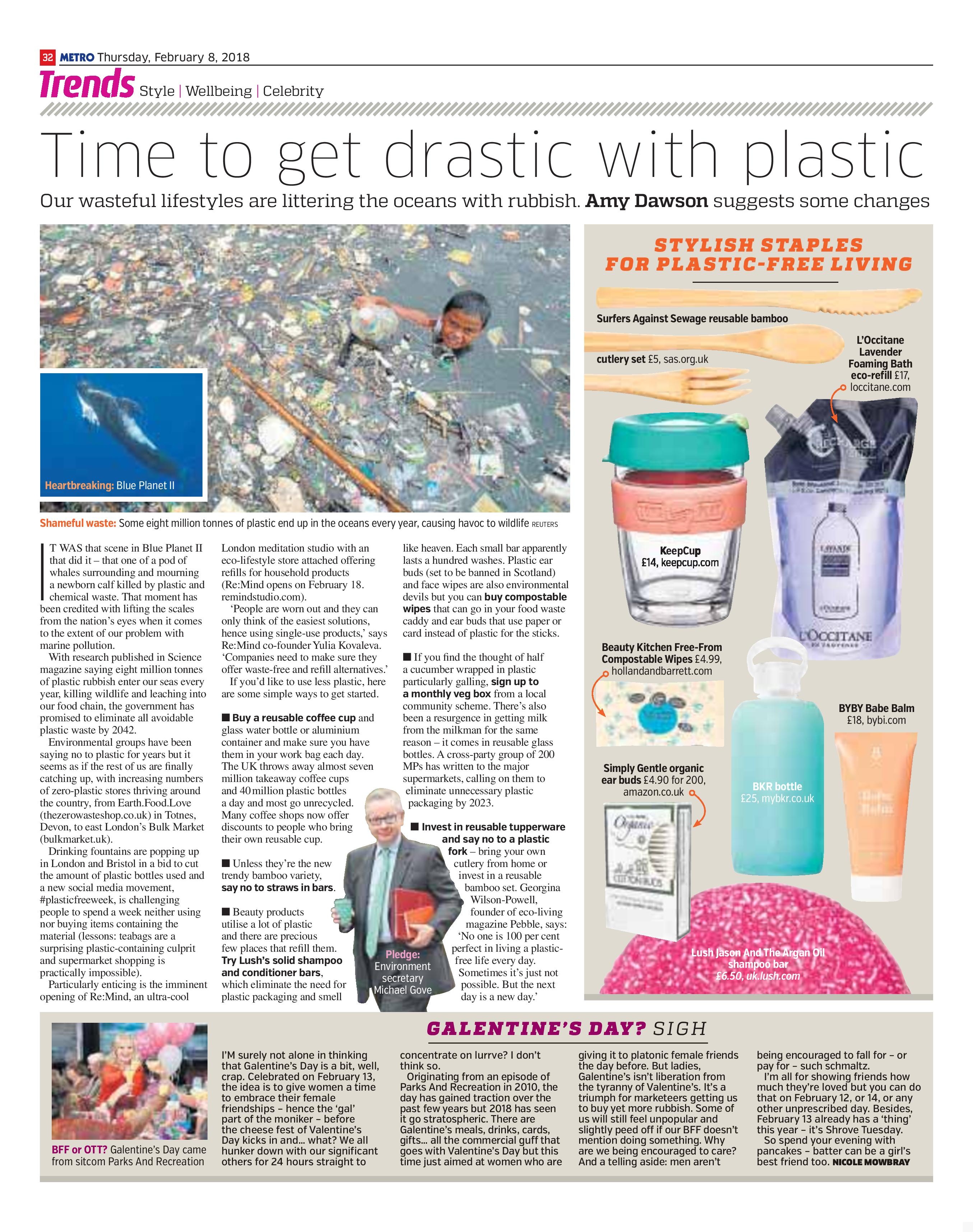 Time To Get Drastic With Plastic (Metro, 8th Feb 2018)