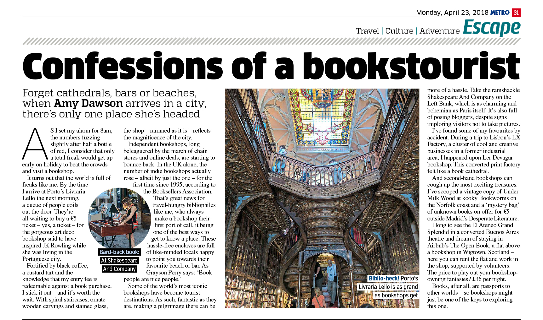 Confessions Of A Booktourist (Metro, 23rd Apr 2018)