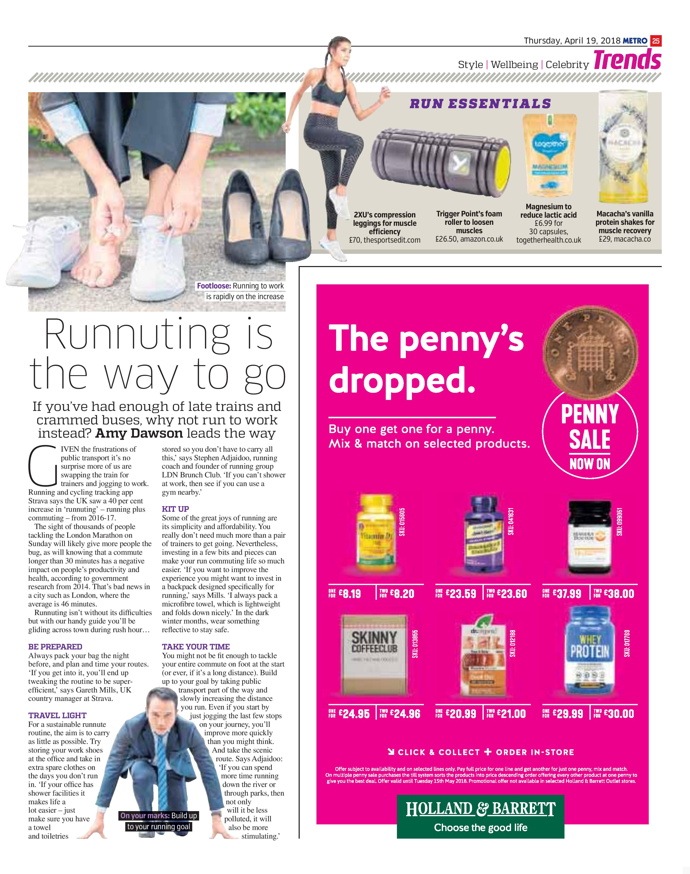Runnuting Is The Way To Go (Metro, 19th Apr 2018)
