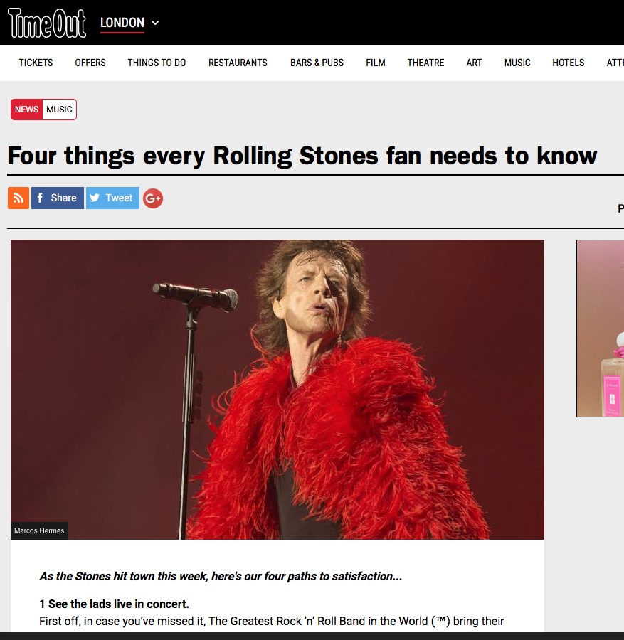 Four things Every Rolling Stones Fan Needs To Know (Time Out, 22nd May 2018)