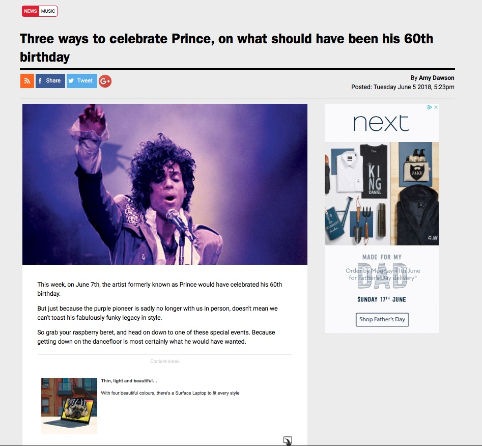 Three ways to celebrate Prince, on what should have been his 60th birthday (Time Out, Jun 5 2018)