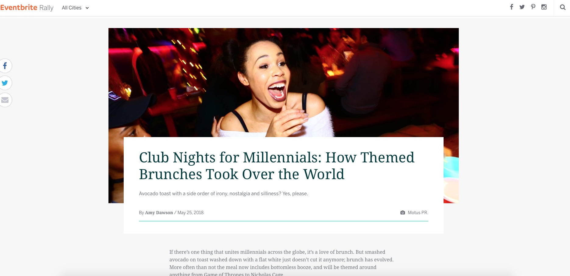 Club Nights for Millennials: How Themed Brunches Took Over the World (Eventbrite, 2nd Jun 2018)