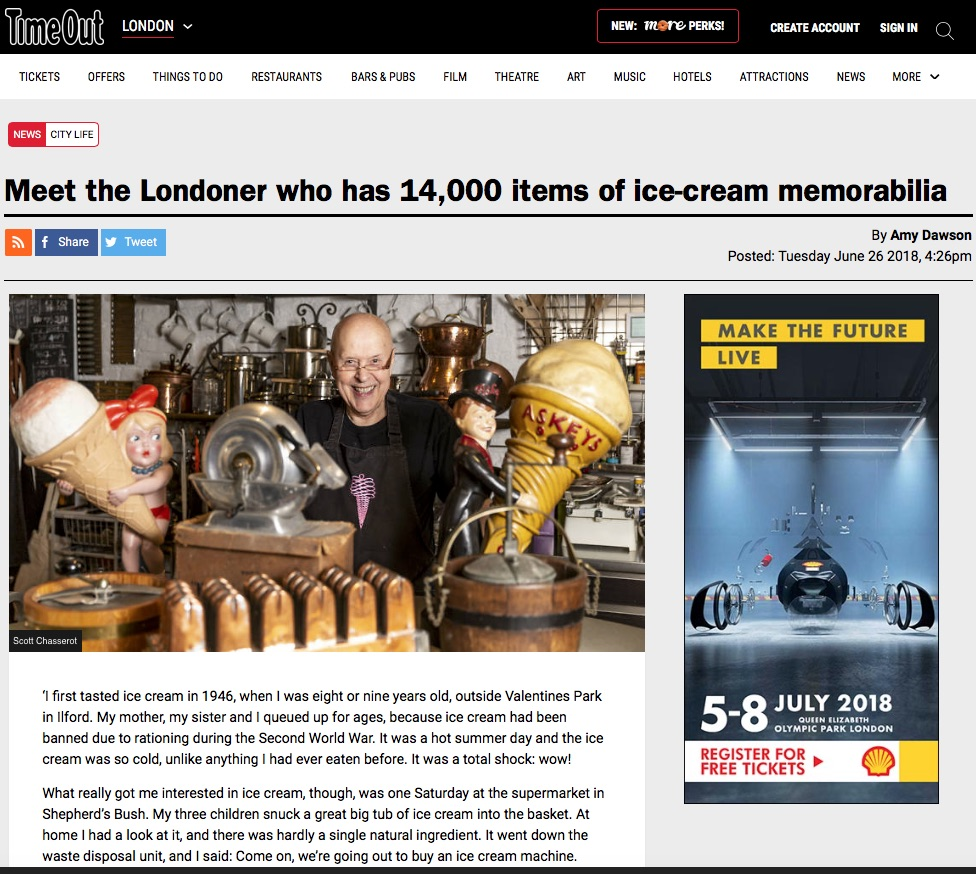 Meet the Londoner who has 14,000 items of ice-cream memorabilia (Time Out, 26th Jun 2018)