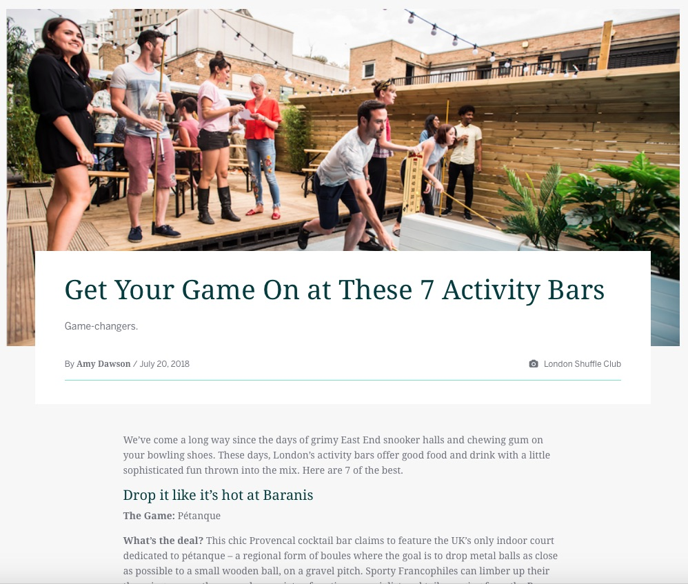 Get Your Game On at These 7 Activity Bars (Eventbrite, 20th Jul 2018)