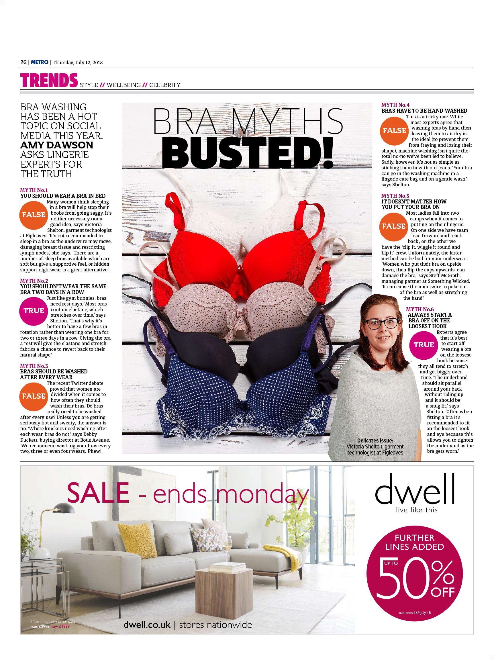 Bra Myths Busted! (Metro, 12th July 2018)