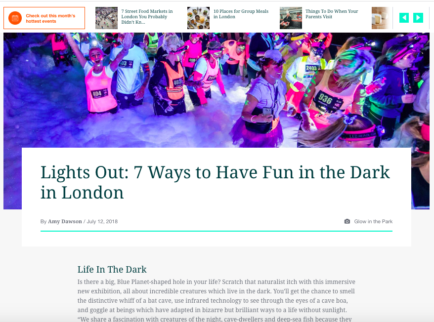 Lights Out: 7 Ways to Have Fun in the Dark in London (Eventbrite, 12th Jul 2018)