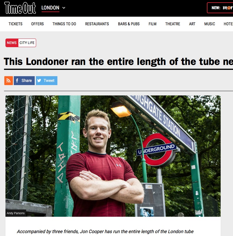 This Londoner ran the entire length of the tube network (Time Out, 16th Jul 2018)
