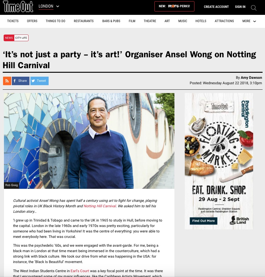 'It's not just a party – it's art!' Organiser Ansel Wong on Notting Hill Carnival (Time Out, 22nd Aug 2018)