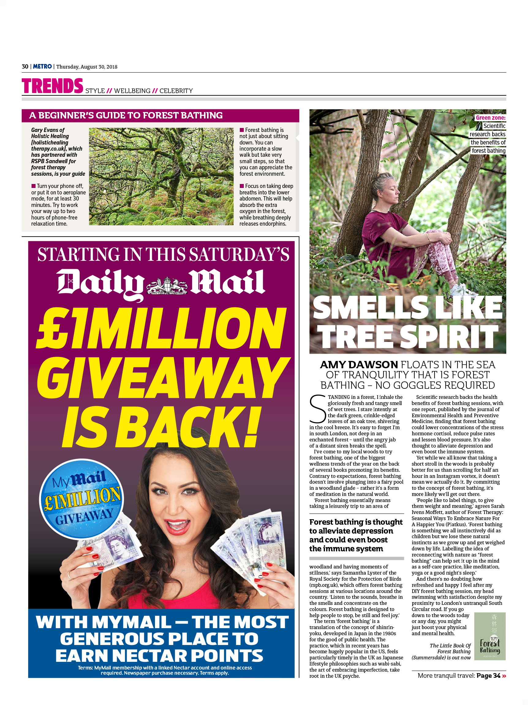 Forest bathing: Why you should branch out and try it (Metro, 30th Aug 2018)