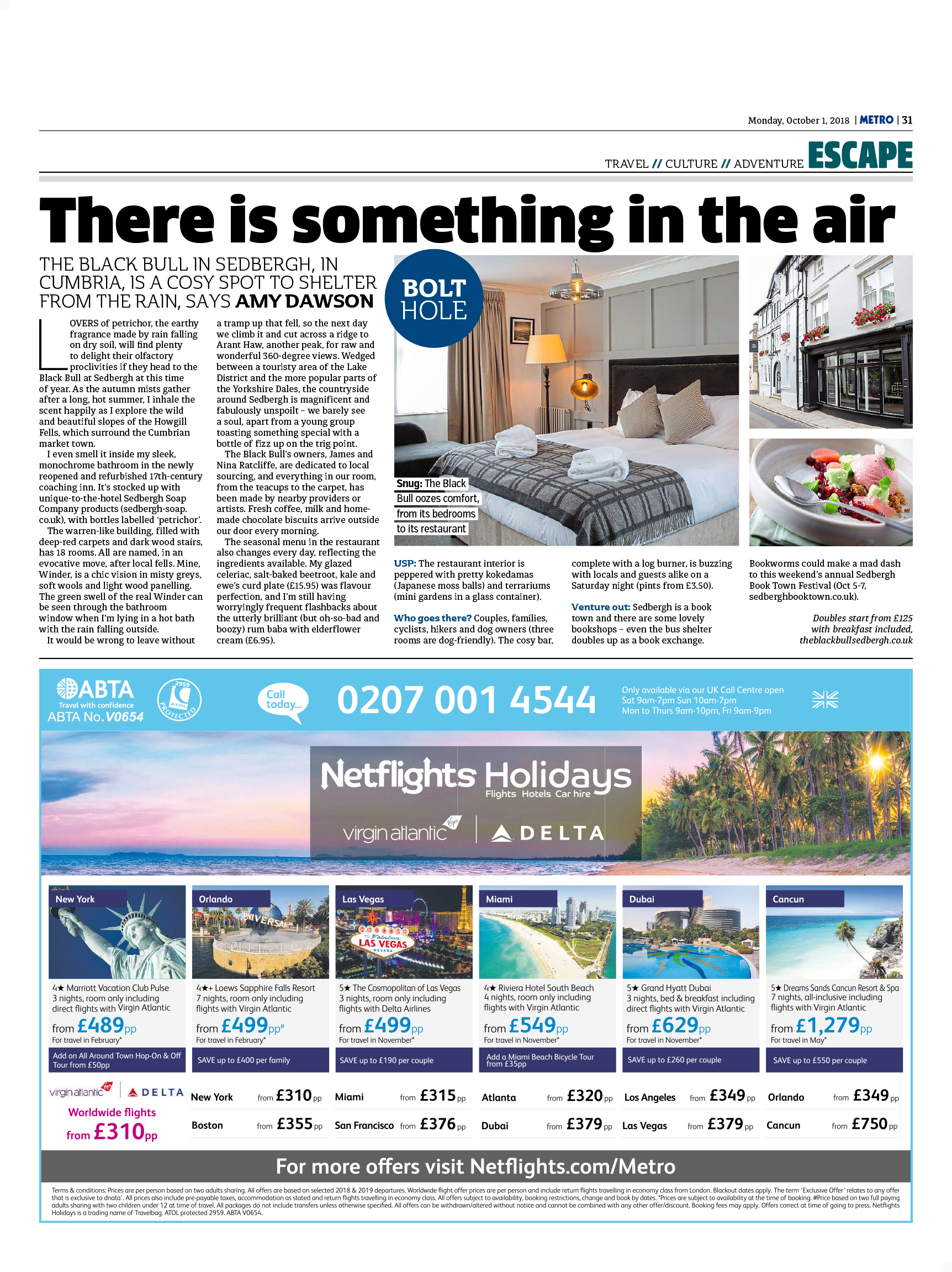 Bolt Hole: There is Something in the Air (Metro, 1st October 2018)
