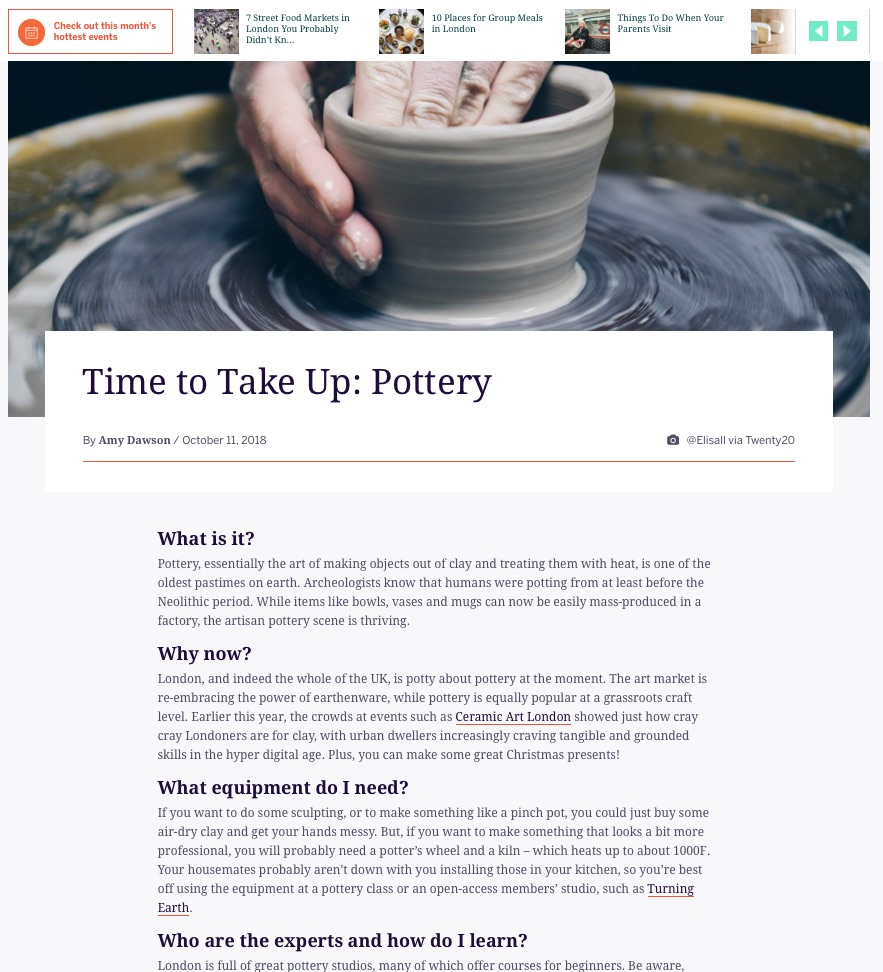 Time To Take Up: Pottery (Eventbrite, 12th Oct 2018)
