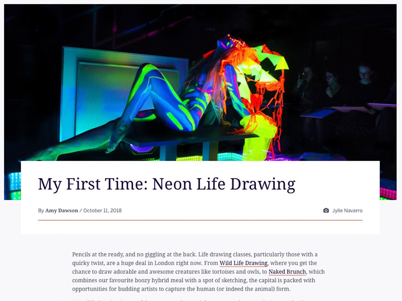 My First Time: Neon Life Drawing (Eventbrite, 11th Oct 2018)