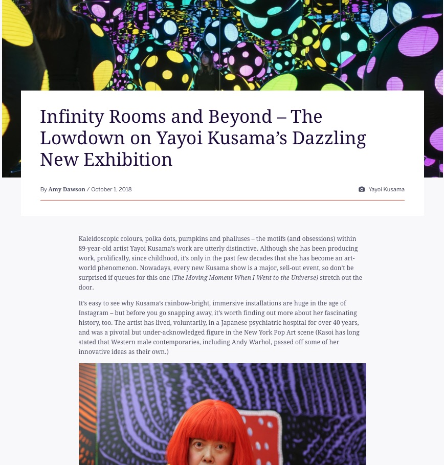 Infinity Rooms and Beyond: The Lowdown on Yayoi Kusama's Dazzling New Exhibition (Eventbrite, 1st Oct 2018)