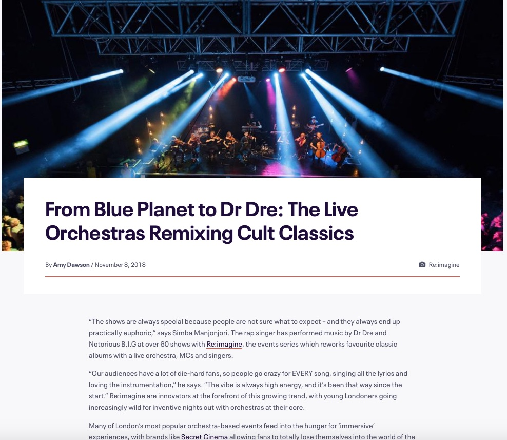 From Blue Planet to Dr Dre: The Live Orchestras Remixing Cult Classics (Eventbrite, 8th Nov 2018)